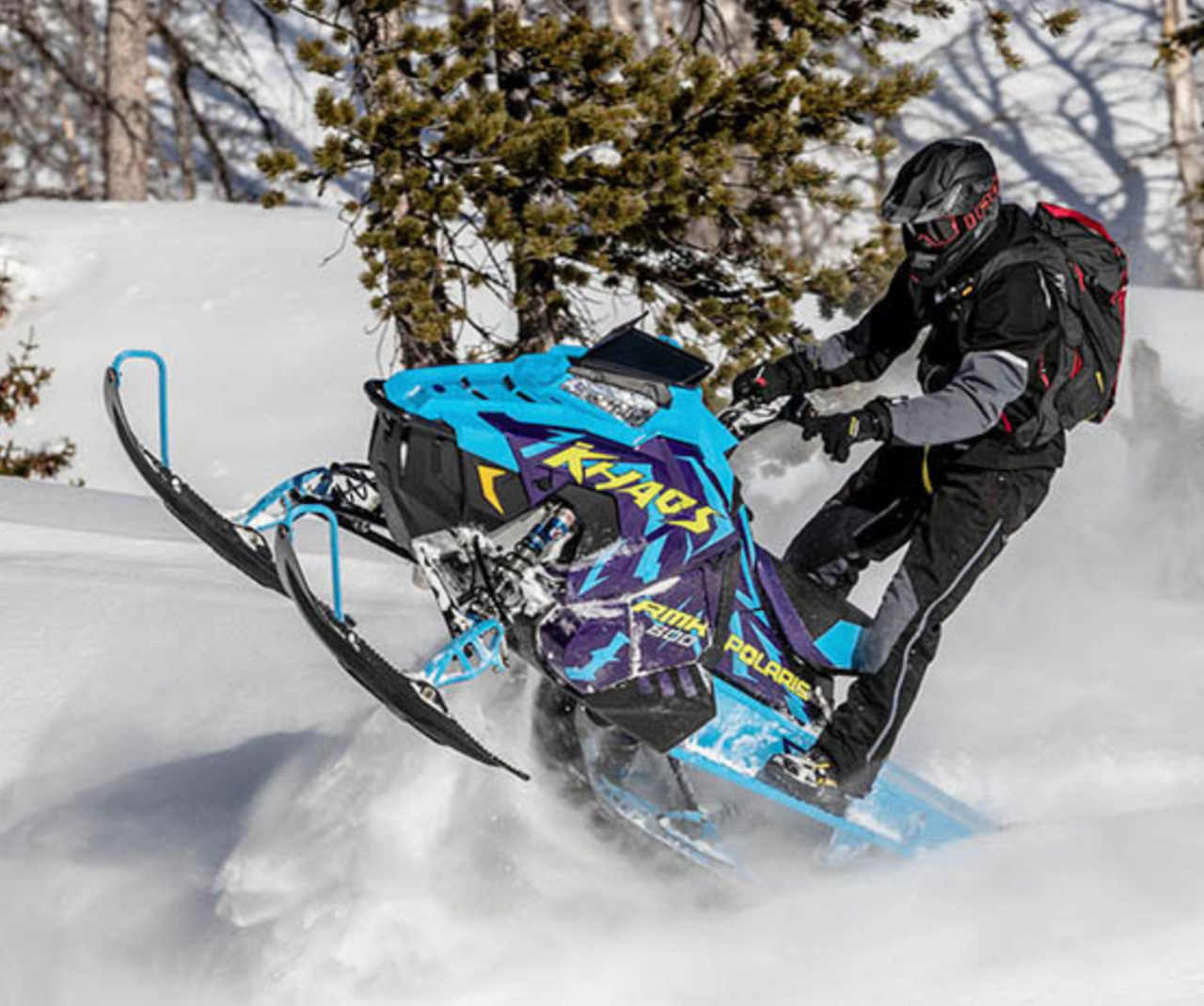 Polaris Snowmobiles in action